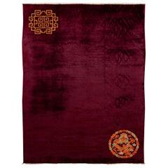 Antique Art Deco Red Handmade Chinese Dragon Design Wool Rug