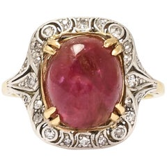 Antique Art Deco Ruby Cabochon Diamond Openworked Cocktail Ring