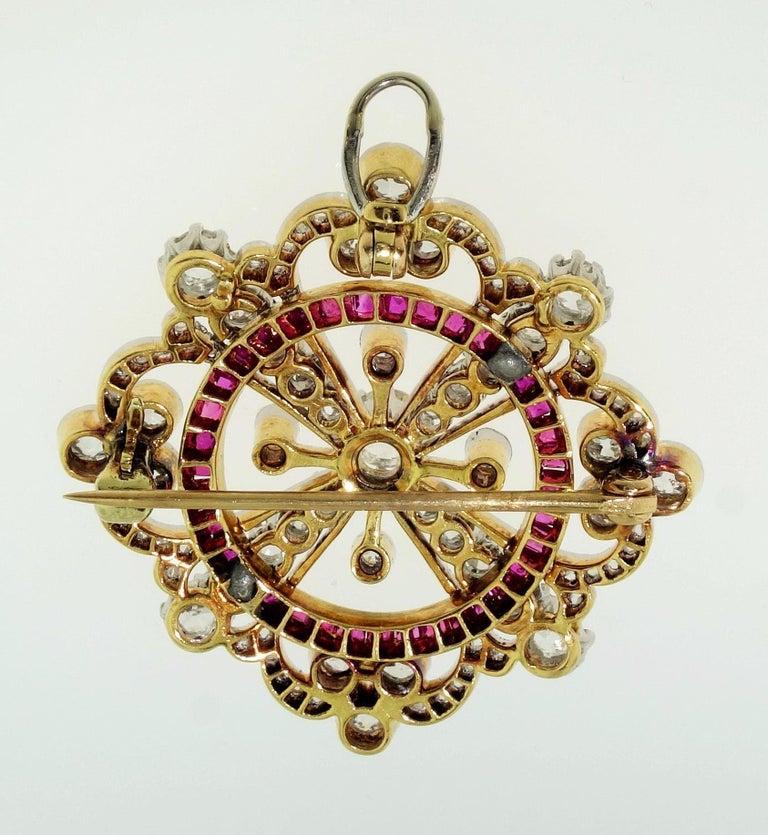 Antique Art Deco Ruby Diamond Platinum 18K Brooch Pendant Estate Fine Jewelry For Sale 1