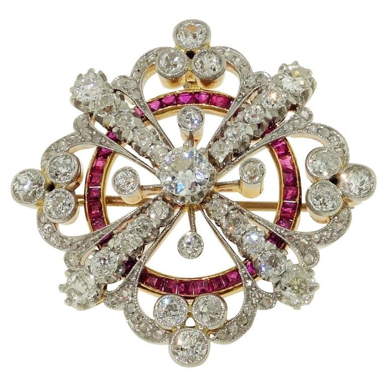 Antique Art Deco Ruby Diamond Platinum 18K Brooch Pendant Estate Fine Jewelry For Sale