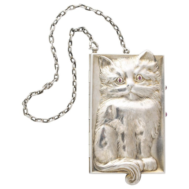 Antique Art Deco Ruby Eyed Kitten Silver Purse/Compact For Sale
