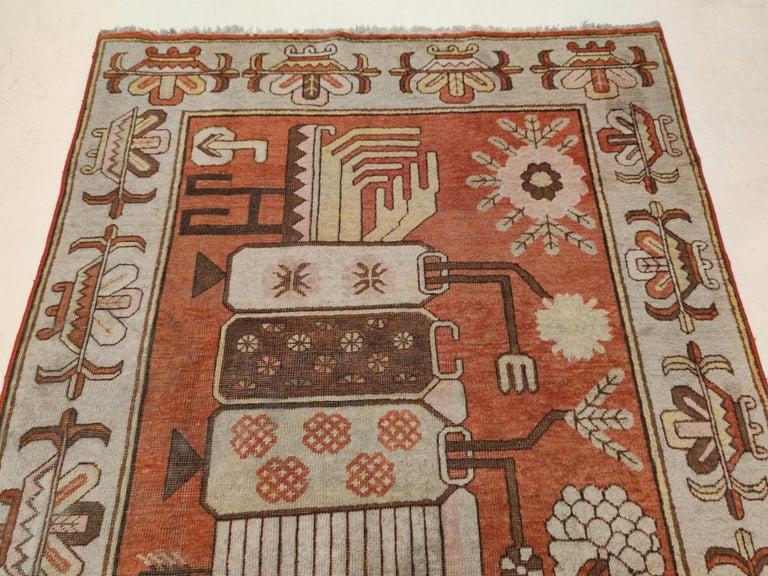 Antique Art Deco Samarkand Prestige Rug with Flowering Antique Chinese Vases For Sale 3