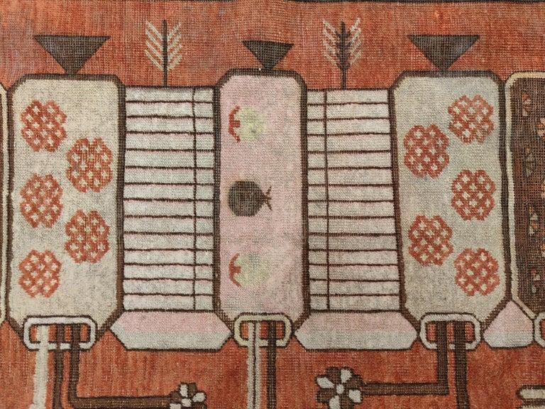 East Turkestani Antique Art Deco Samarkand Prestige Rug with Flowering Antique Chinese Vases For Sale