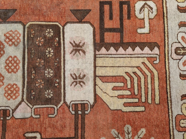 Hand-Knotted Antique Art Deco Samarkand Prestige Rug with Flowering Antique Chinese Vases For Sale
