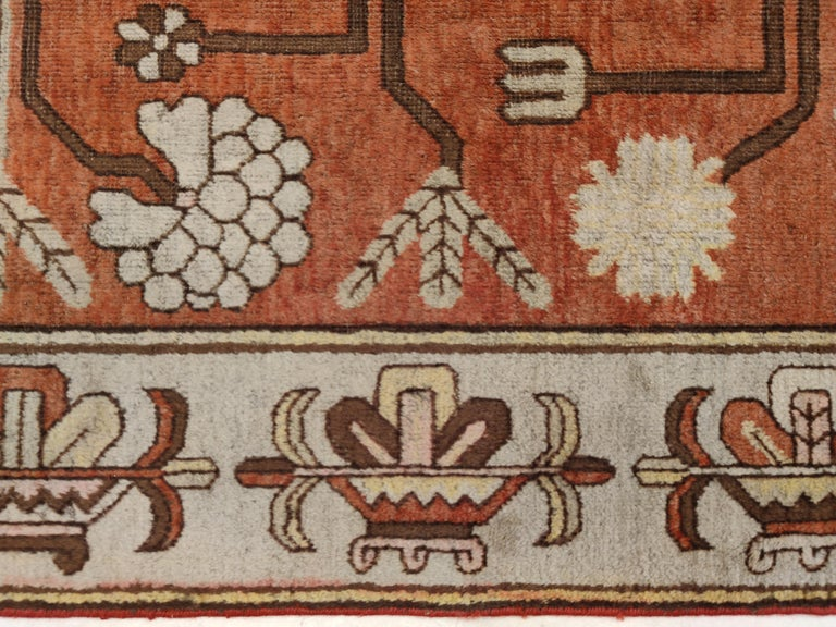 Early 20th Century Antique Art Deco Samarkand Prestige Rug with Flowering Antique Chinese Vases For Sale