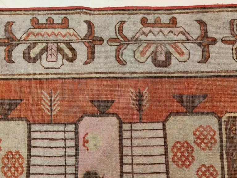 Antique Art Deco Samarkand Prestige Rug with Flowering Antique Chinese Vases For Sale 1