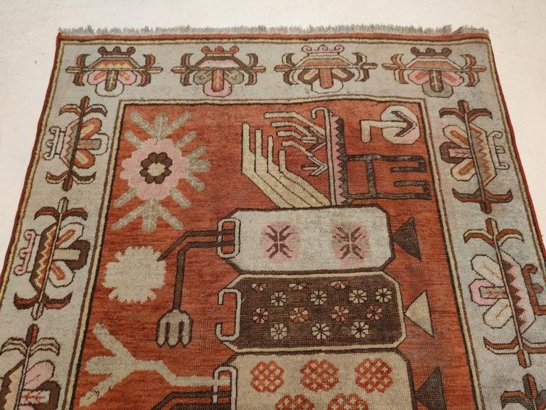Antique Art Deco Samarkand Prestige Rug with Flowering Antique Chinese Vases For Sale 2