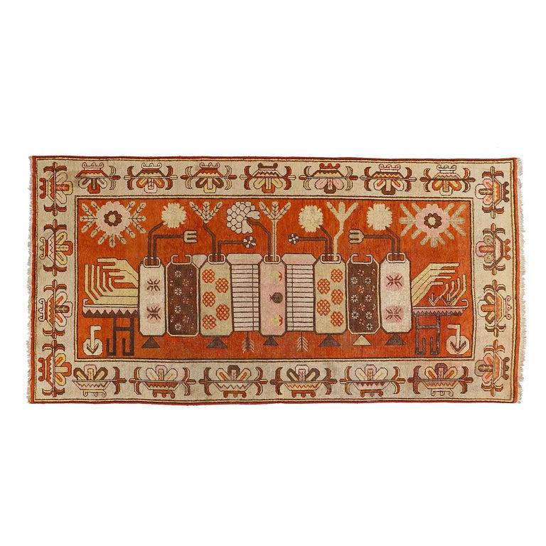 Antique Art Deco Samarkand Prestige Rug with Flowering Antique Chinese Vases For Sale