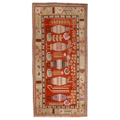 Antique Art Deco Samarkand Prestige Rug with Flowering Antique Chinese Vases