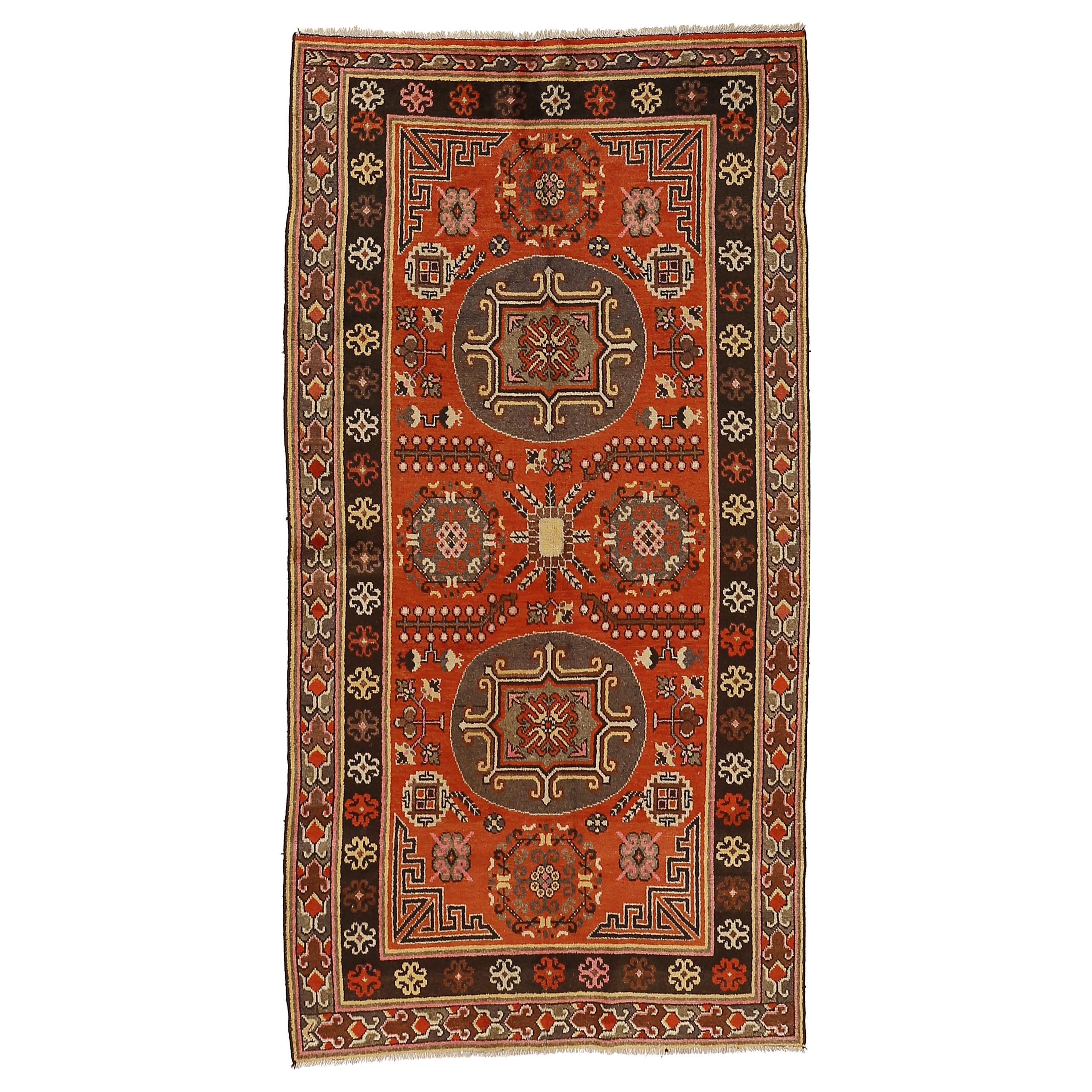 Antique Art Deco Samarkand Rug with Mandala Roundels