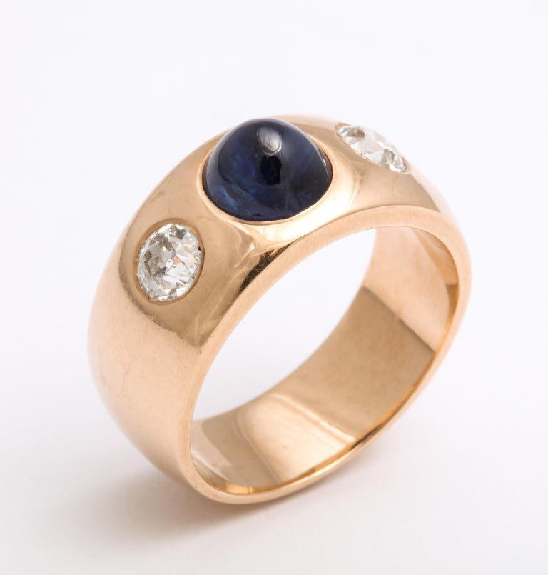Old European Cut Antique Art Deco Sapphire and Diamond Ring