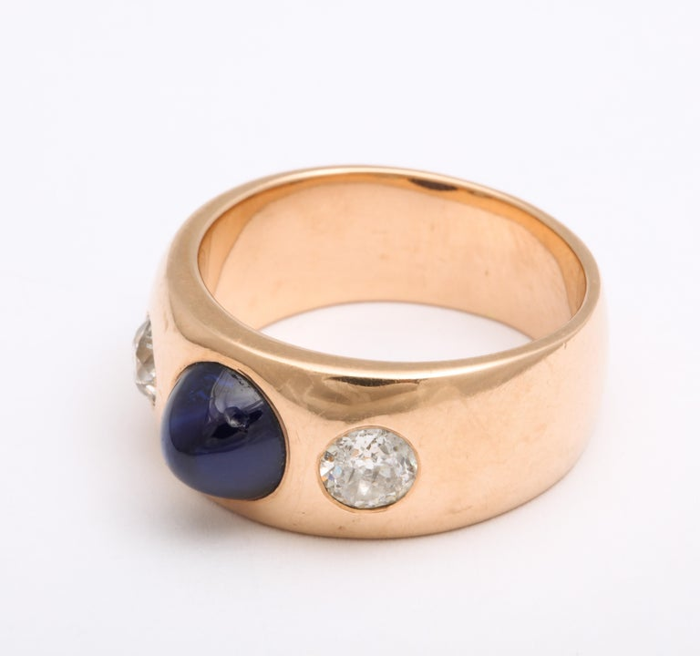 Antique Art Deco Sapphire and Diamond Ring In Excellent Condition In Stamford, CT