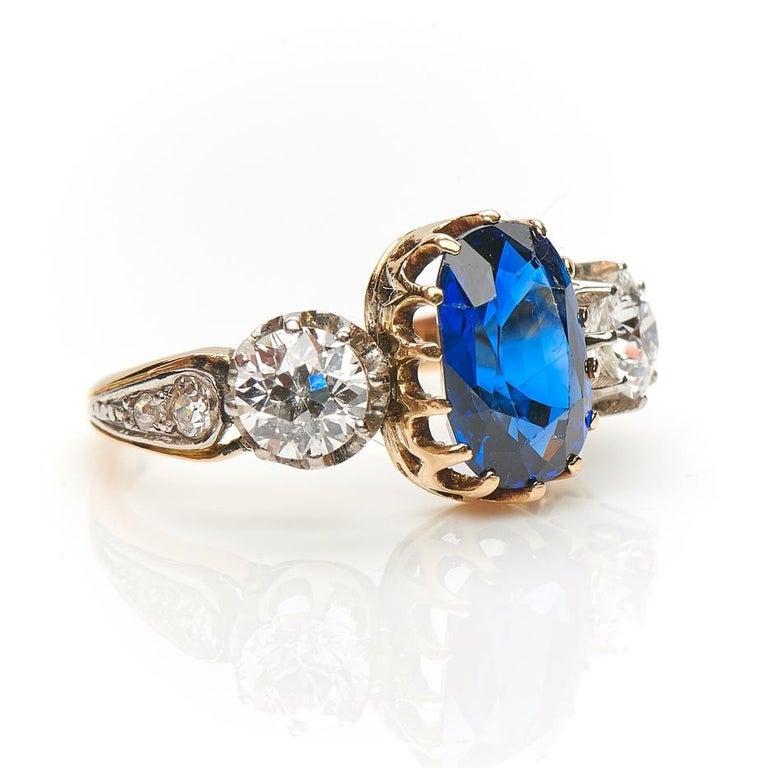 Engagement Ring Box Sale: Antique, Art Deco, Sapphire And Diamond Three-Stone