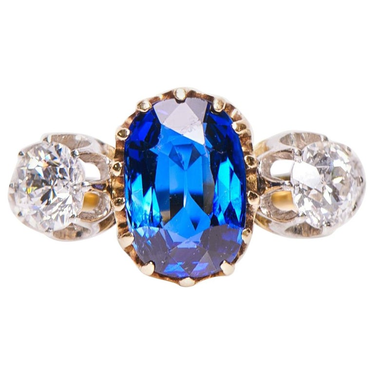 Antique Engagement Rings For Sale: Antique, Art Deco, Sapphire And Diamond Three-Stone