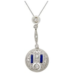 Antique Art Deco Sapphire and Diamond Yellow Gold Pendant
