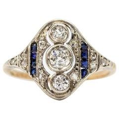 Antique Art Deco Sapphires and Diamonds Ring