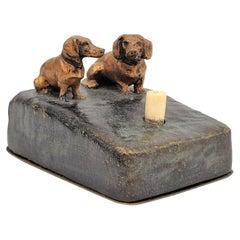 Antique Art Deco Servant's Ringer Box with Austrian Cold-Painted Bronze Dogs