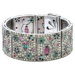 Antique Art Deco Silver Bracelet, Paste, Rubies, Emeralds