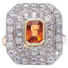 Antique, Art Deco, Spessartine 'Mandarin' Garnet and Diamond Cluster Ring