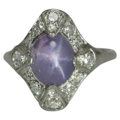 Antique Art Deco Star Sapphire Cocktail Ring 5 Carat Purple Dome 4 Point Shield