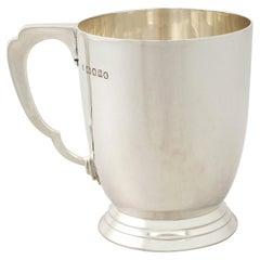 Antique Art Deco Sterling Silver Pint Mug by Edward Barnard & Sons Ltd