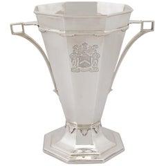 Antique Art Deco Sterling Silver Presentation Trophy / Vase