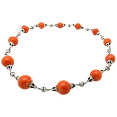 Antique Art Deco Style 6.00 Carat Diamond & Pacific Ocean Coral Beaded Necklace