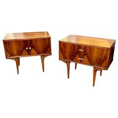 Antique Art Deco Style Burl Walnut Side Tables