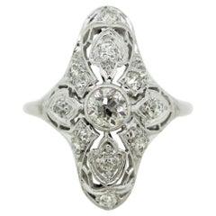 Antique Art Deco Style Diamond Platinum & Gold Ring