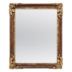 Antique Art Deco Style French Mirror, Giltwood & Colours, circa 1930