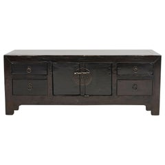 Antique Art Deco Style 'Kang-Table' 'Low Console Table', Black Lacquer