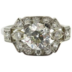 Antique Art Deco Style Platinum Old European Cut Diamond Engagement Ring