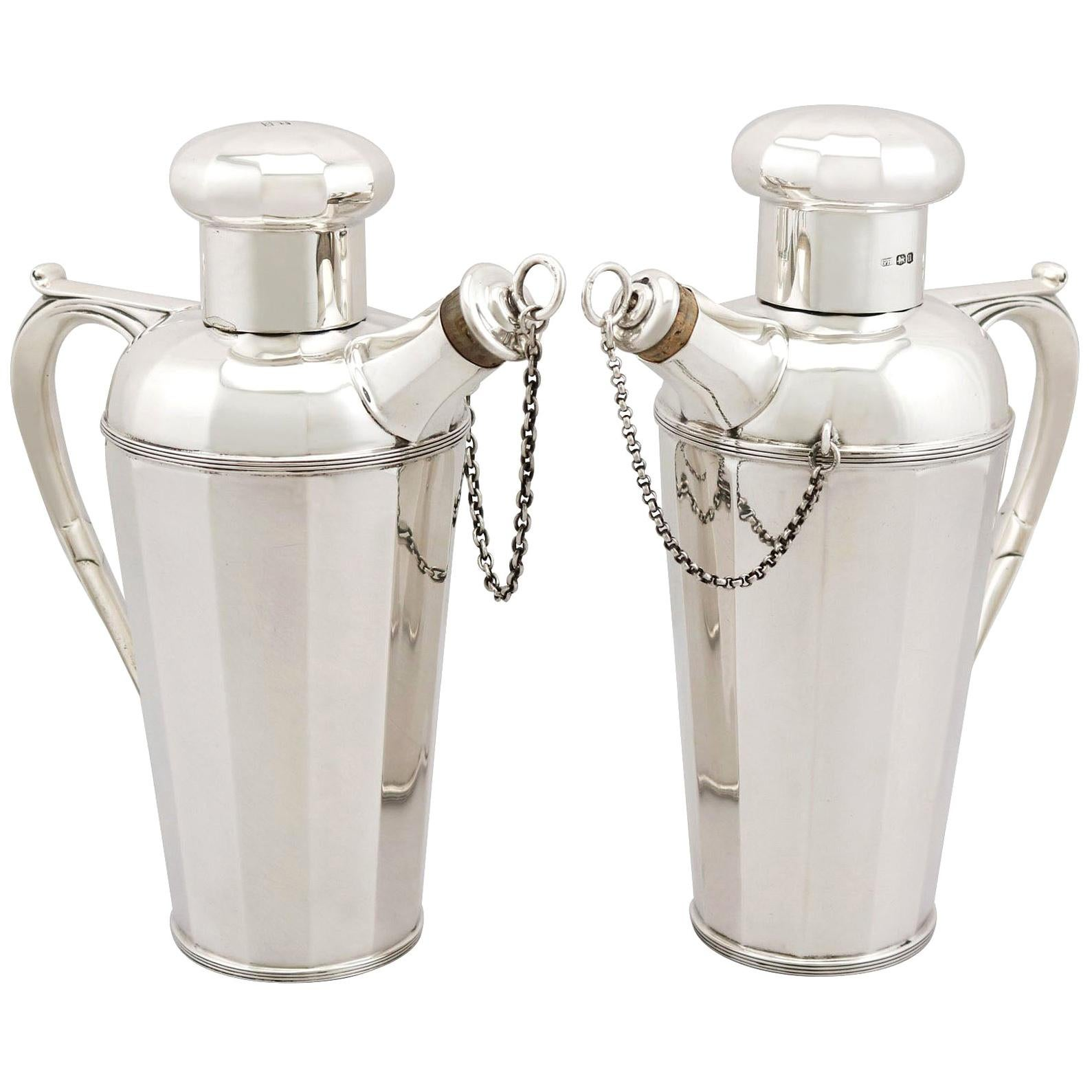 Antique Art Deco Style Sterling Silver Cocktail Shakers, 1930