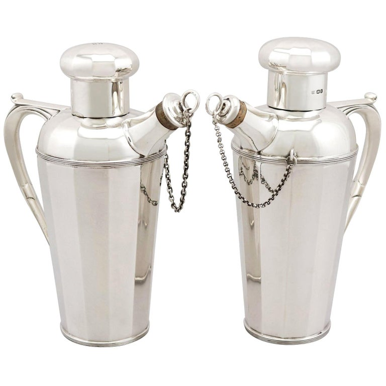 Antique Art Deco Style Sterling Silver Cocktail Shakers, 1930 For Sale