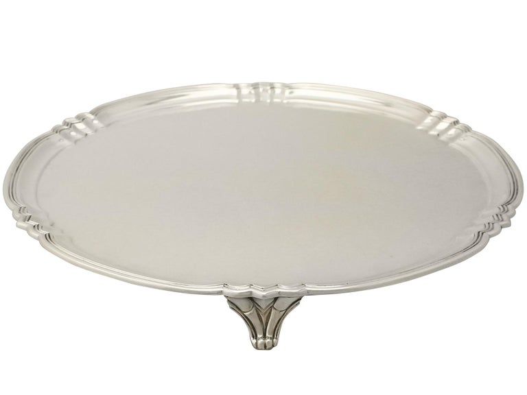 English Antique George V Art Deco Style Sterling Silver Salver by Reid & Sons For Sale