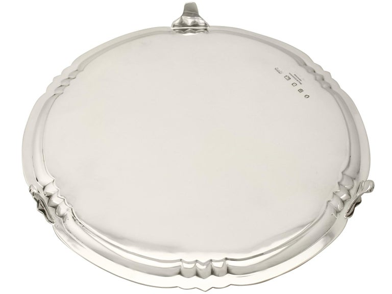 Antique George V Art Deco Style Sterling Silver Salver by Reid & Sons For Sale 3