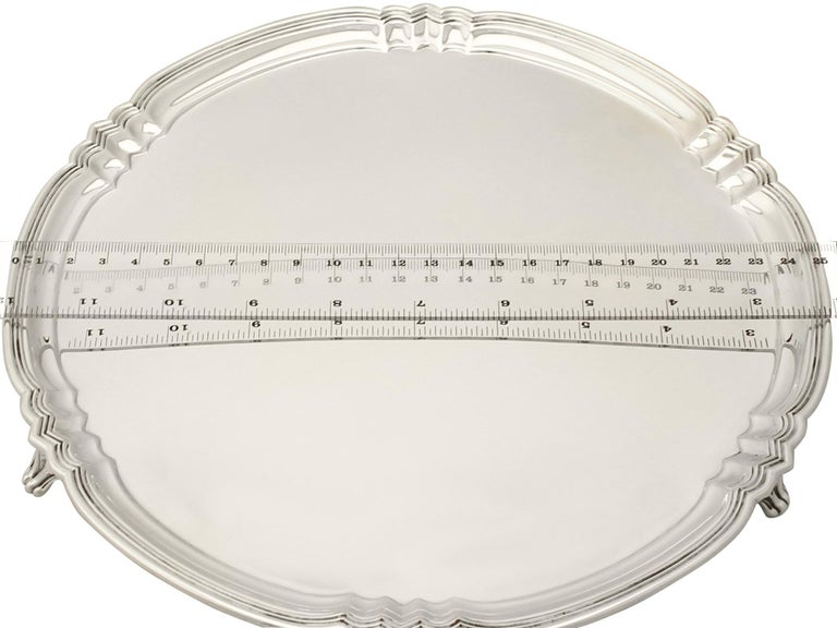 Antique George V Art Deco Style Sterling Silver Salver by Reid & Sons For Sale 4