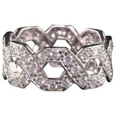 Antique Art Deco Tiffany and Co Platinum Interlaced Diamond Eternity Band