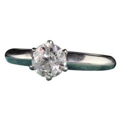 Antique Art Deco Tiffany & Co Platinum Old European Diamond Engagement Ring