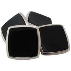 Antique Art Deco Two-Tone 14 Karat Gold Black Onyx Cufflinks