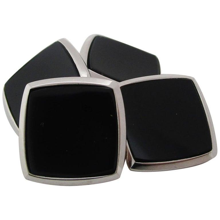 Antique Art Deco Two-Tone 14 Karat Gold Black Onyx Cufflinks For Sale