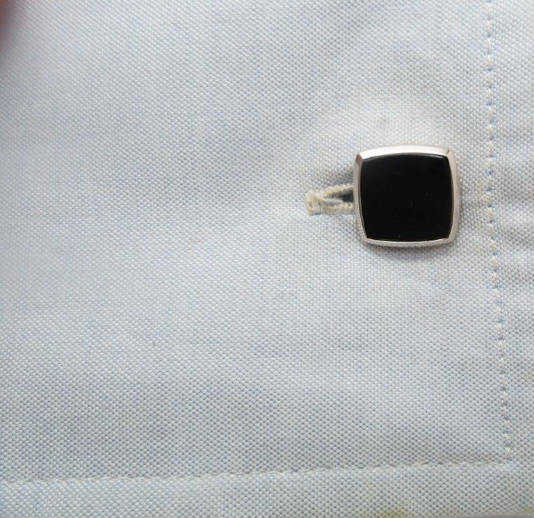 Antique Art Deco Two-Tone 14 Karat Gold Black Onyx Cufflinks In Excellent Condition For Sale In Lexington, KY
