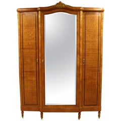 Antique Art Deco Vintage Large Mirrored 3 Door Armoire Ornate Brass and Wood