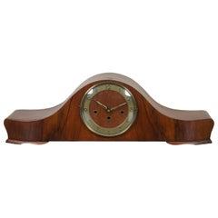 Antique Art Deco Walnut Mantel Desk Clock Key Wound Chiming Bauhaus