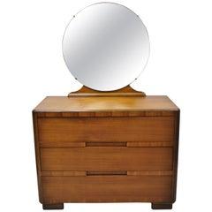 Antique Art Deco Waterfall Inlaid 3-Drawer Dresser Chest with Round Mirror