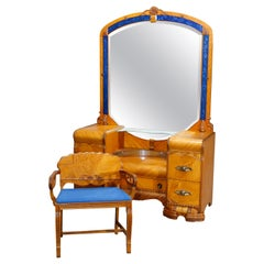 Antique Art Deco Waterfall Satinwood Dressing Table with Blue Glass Lined Mirror