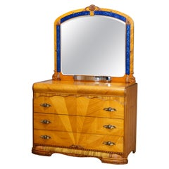 Antique Art Deco Waterfall Satinwood Sunburst Dresser & Blue Glass Lined Mirror