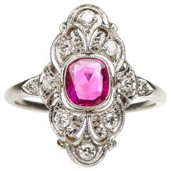 Antique, Art Deco, White Gold, Natural Burmese Ruby and Diamond Engagement Ring