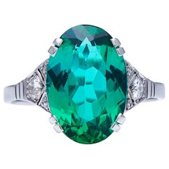 Antique, Art Deco, White Gold, Vivid Tourmaline and Diamond Ring