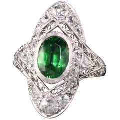 Antique Art Deco William Wise and Son Platinum Tsavorite Diamond Filigree Shield